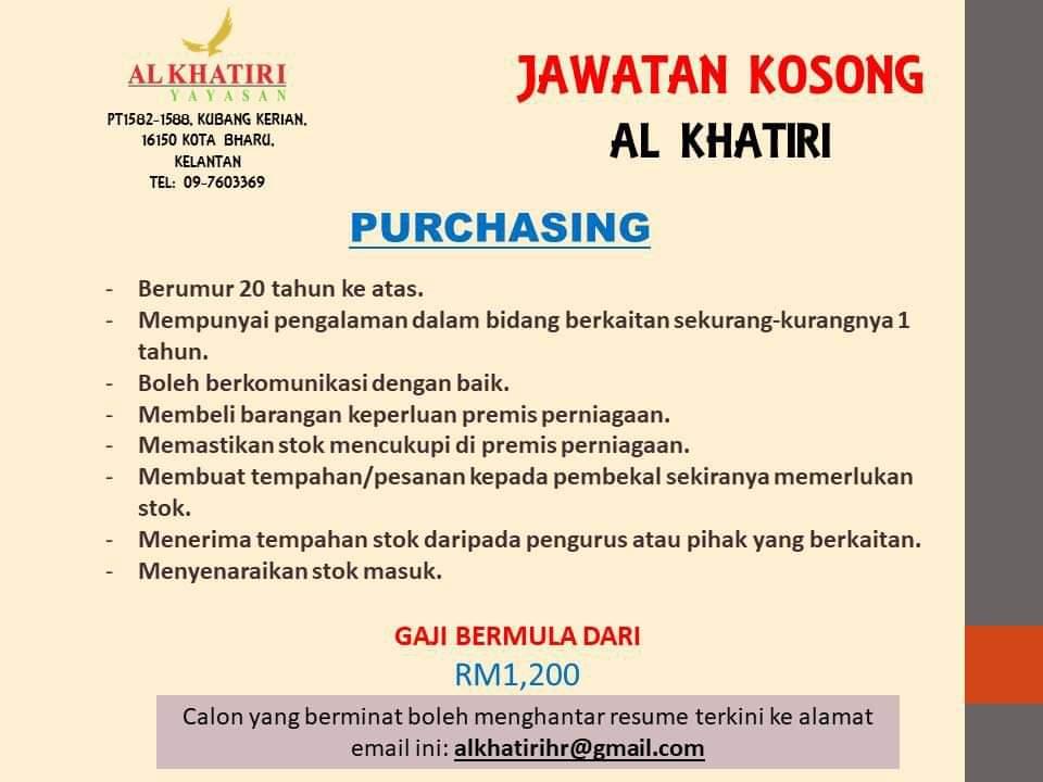 Jawatan Kosong Di Al Khatiri - Purchasing
