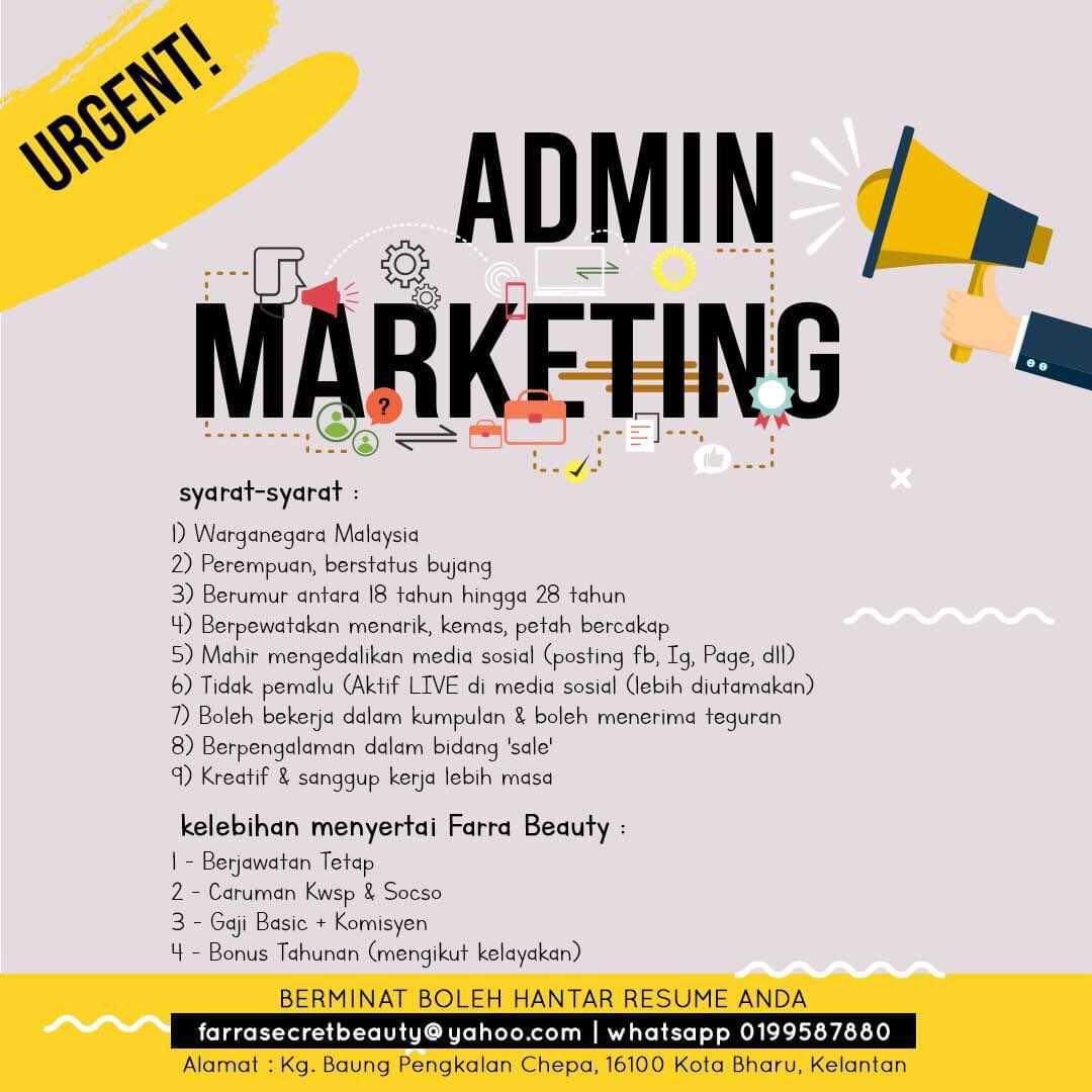 Jawatan kosong admin marketing pengkalan chepa