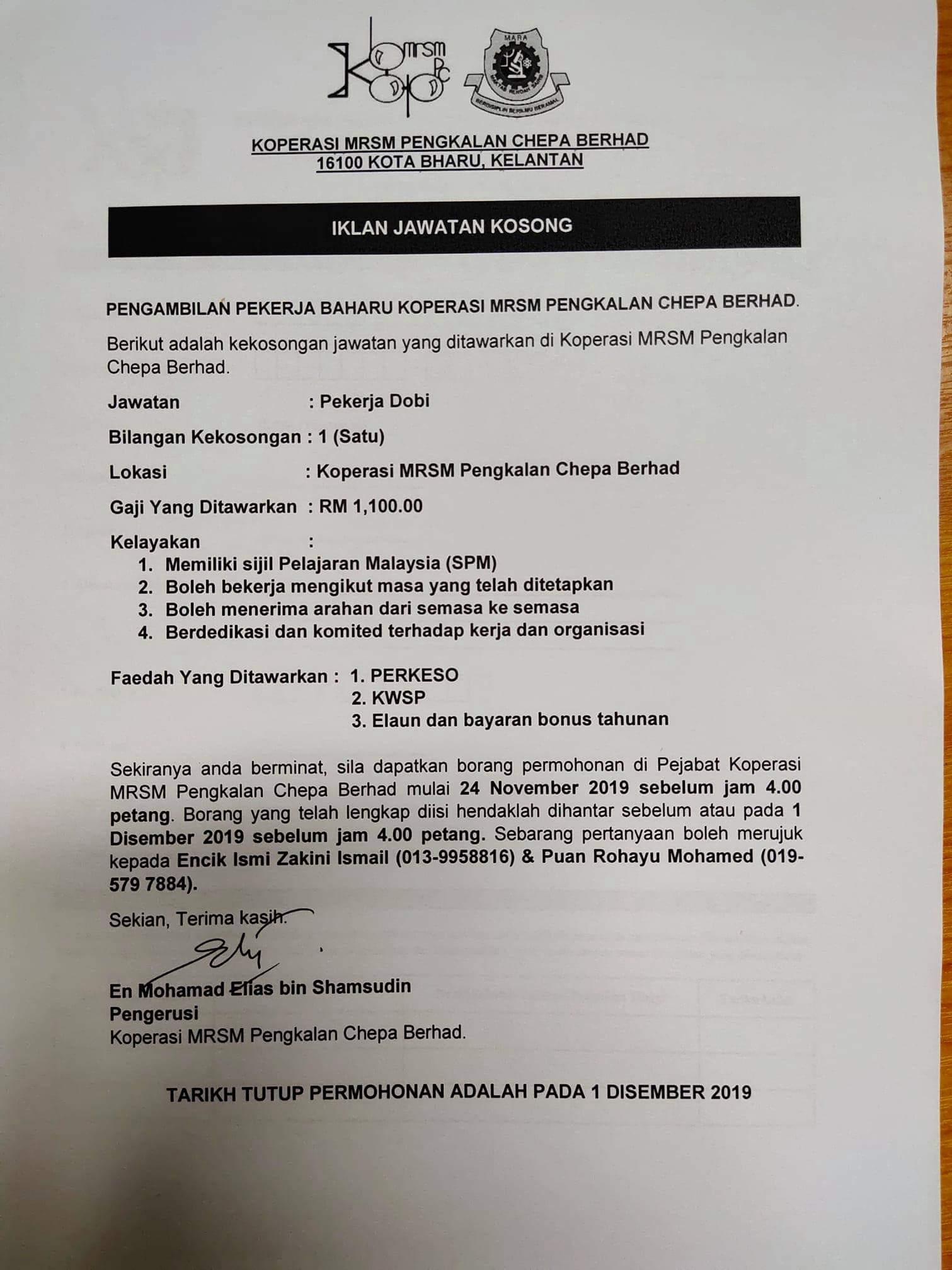 Jawatan Kosong Koperasi MRSM Pengkalan Chepa