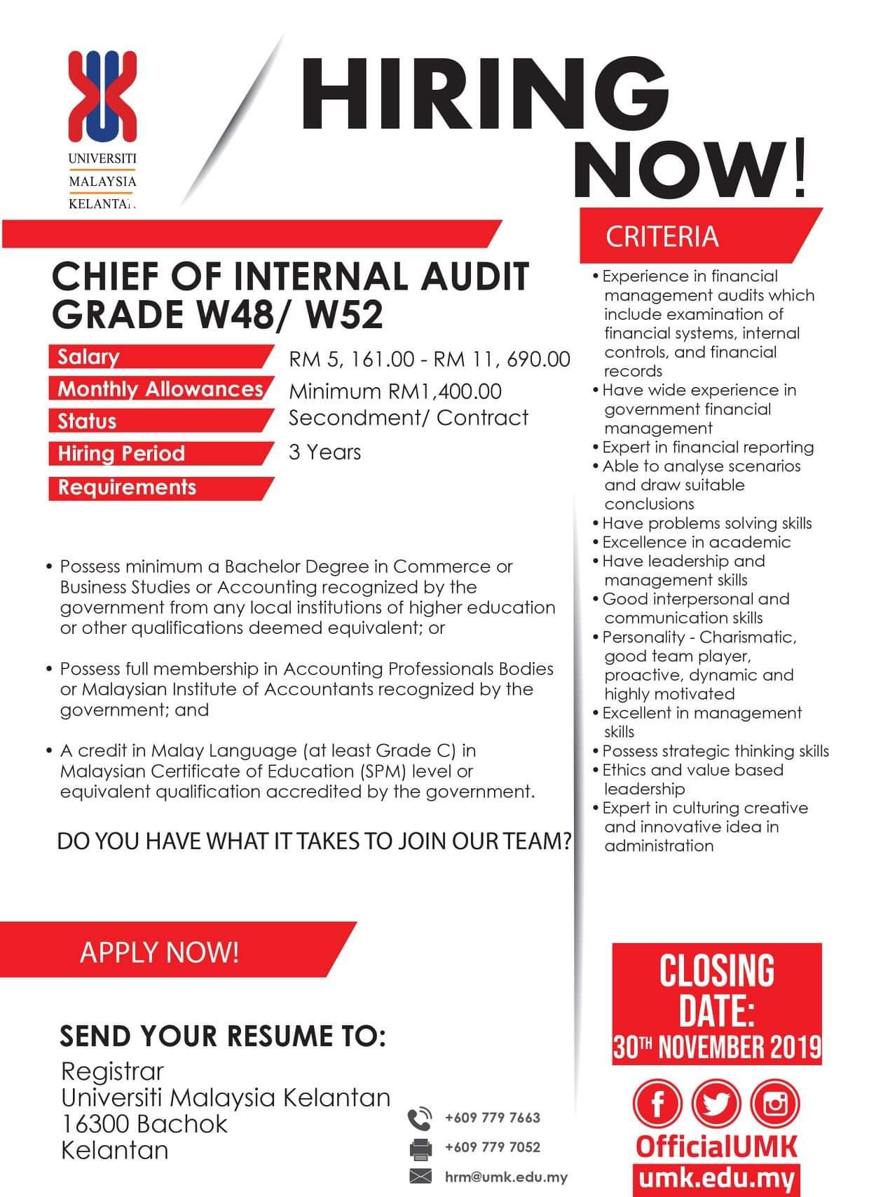 Ketua Unit Audit Dalam Gred W48 W52