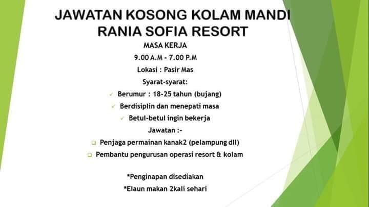 Jawatan Kosong Di Kolam Mandi Rania Sofia Resort