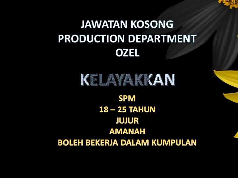 Jawatan Kosong Di Ozel Jewellery Sdn Bhd