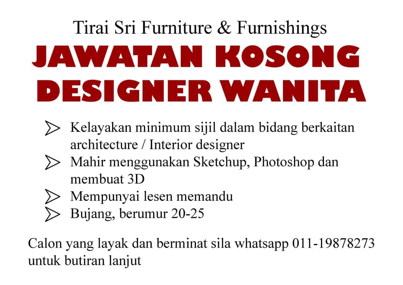 Jawatan Kosong Di Tirai Sri Furniture & Furnishing