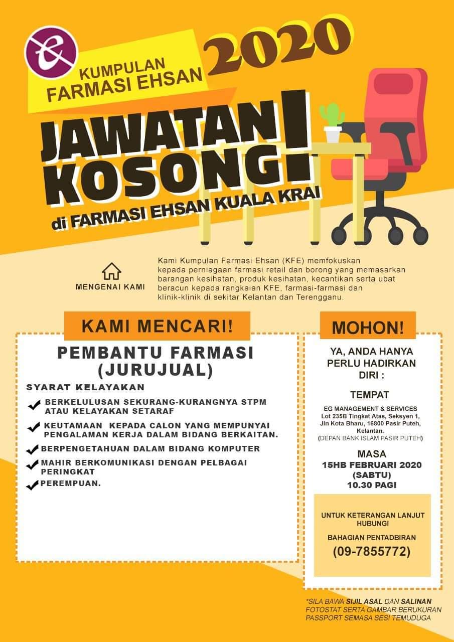 Jawatan Kosong Pembantu Farmasi Kuala Krai