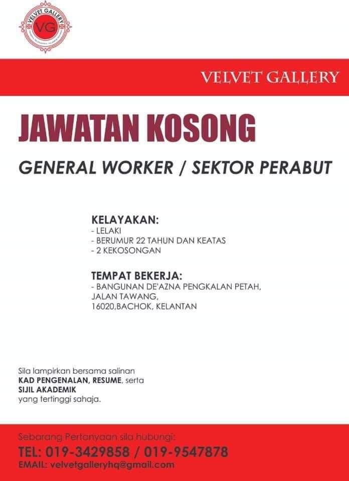 Jawatan Kosong Di Velvet Gallery (Bachok)