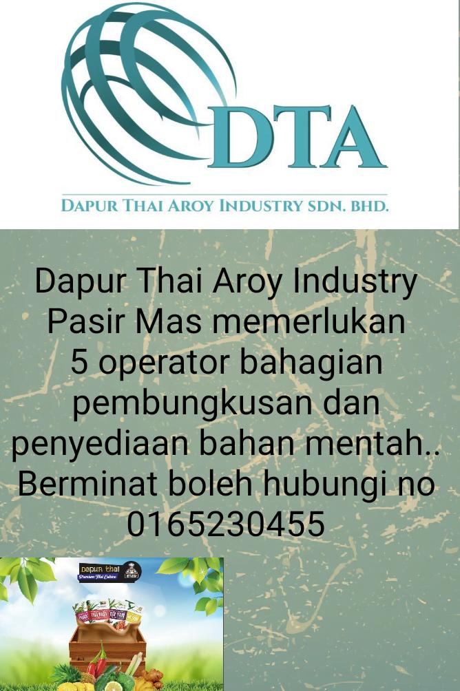 Jawatan Kosong Di Dapur Thai Aroy Industry