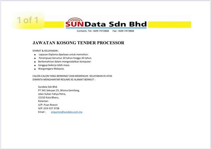 Jawatan Kosong Di Sundata Sdn Bhd
