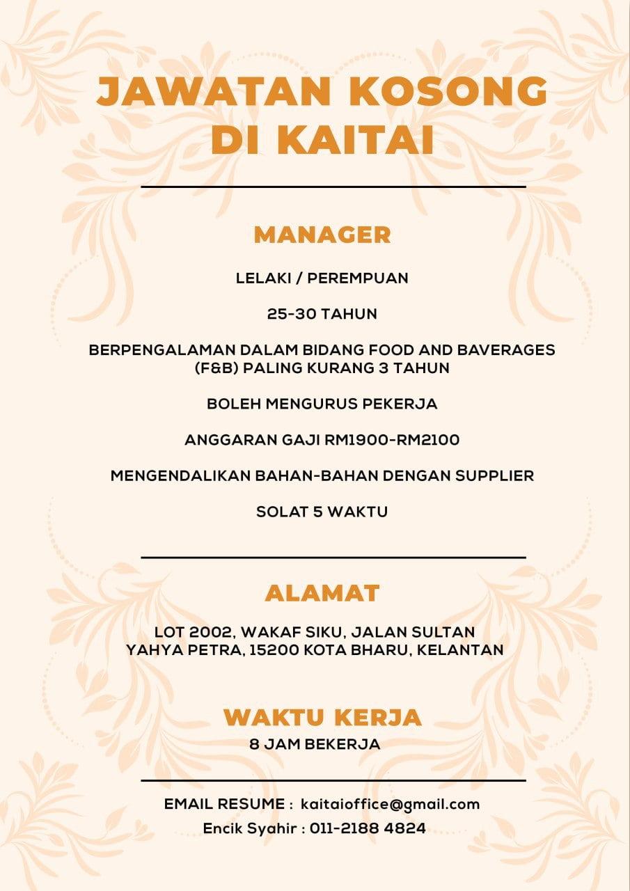 Jawatan Kosong Di Kaitai Cafe - Negerikelantan.com