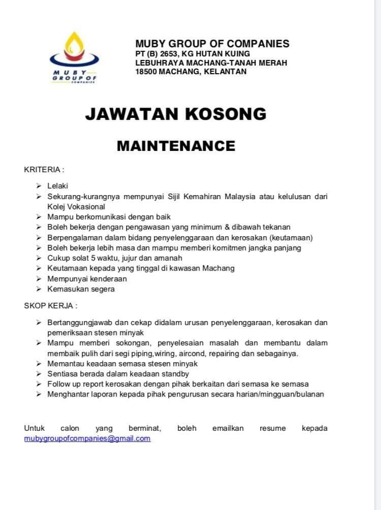 Jawatan Kosong Di Muby Group Of Companies - Negerikelantan.com